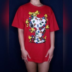 Snoopy Woodstock Peanuts Christmas Tee Size Large